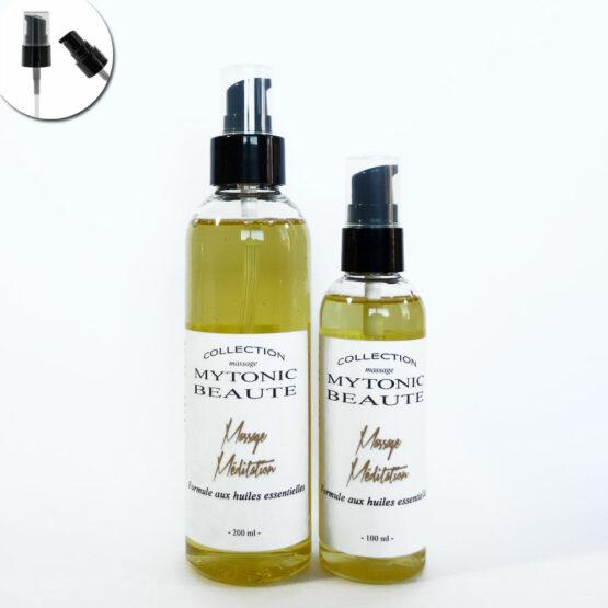 mélange d'huile de massage, végétales et essentielles pour la méditation